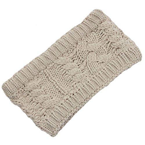 Les filles d'hiver tricoté bandeau tressé oreille plus chaud, Beige