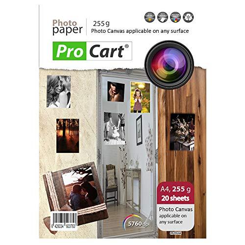 Fotostof Papier A4 met Repositionable Adhesive voor inkjetprinters, toepasbaar op elk oppervlak, gewicht 255 g, Afdrukbare removale stick ups, 20 vellen