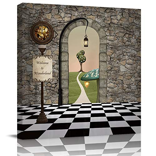 Canvas Wall Art - Wonderland Stone House Black White Tile Floor Pattern - Modern Wall Decor Gallery Canvas Wraps Giclee Print Stretched and Framed Ready to Hang - 16' x 16'