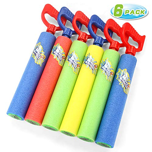 Fun-Here Water Guns Shooter 6 Pack, Super Foam Soakers Blaster Squirt Guns, Pool Noodles Toy with...