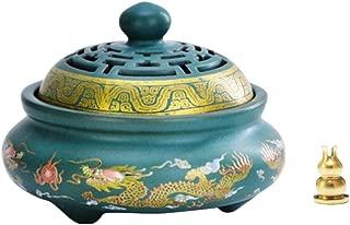 Avena Incense Burner Ceramic Cone/Coil Incense Holder Ash Catcher Tray Bowl with Incense Burner Holder, Double Dragon