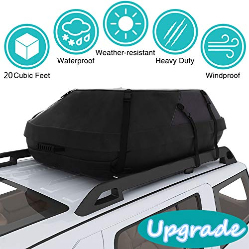 Moroly Car Top Carrier Waterproof Rooftop Cargo Carrier Bag Includes Heavy Duty Straps
