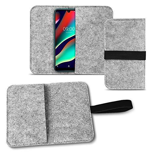 NAmobile Filz Tasche kompatibel für Wiko View 3 Pro Handy Cover Hülle Hülle Filztasche Handyhülle mit Kartenfach in Grau mit Straffen Gummiband, Farben:Hell Grau
