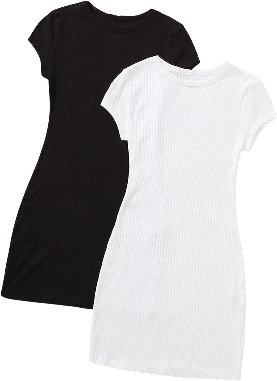 MakeMeChic Women's 2pack Cap Sleeve Round Neck Rib Knit Mini Bodycon Pencil Dress