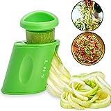 LHS Vegetable Spiralizer Vegetable Slicer Handheld 2-in-1 Zucchini Spaghetti Maker Zoodle Maker...