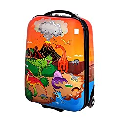 Karry Kids Suitcase Travel Trolley Hard Cases Carry-on Boys LED Skater Rollers Dinosaur