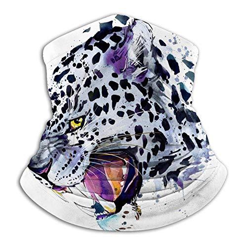 Xian Shiy Tubo unisex Cara Bufanda Cuello Polaina S Leopardo de las nieves Chapoteo del leopardo de las nieves Desgaste de la cabeza de acuarela Cubierta de la cara