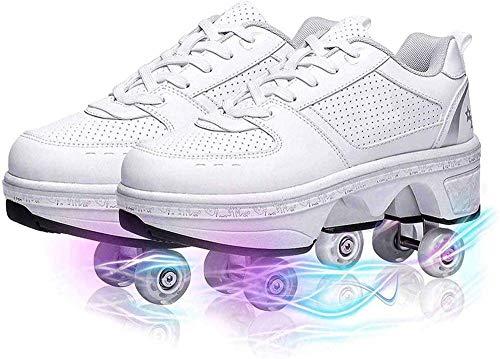Aupast Patines de Ruedas de deformación Zapatos de Patinaje multifuncionales Ajustables Niños Adultos 2 en 1 Patines de polea extraíbles para Deportes al Aire Libre Unisex, 35