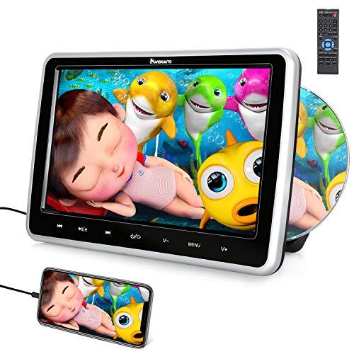 NAVISKAUTO Lettore dvd da auto poggiatesta con schermo da 10.1 pollici,supporta HDMI Regione free USB SD AV-in AV-out cavo AUX, 18 mesi di garanzia, con supporto