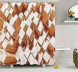 daimin Decoración geométrica Cortina de Ducha Figuras rústicas de Madera Natural Cuadrados Altos y Bajos Troncos de Roble Timbre Design Set de decoración de baño con 180X200CM