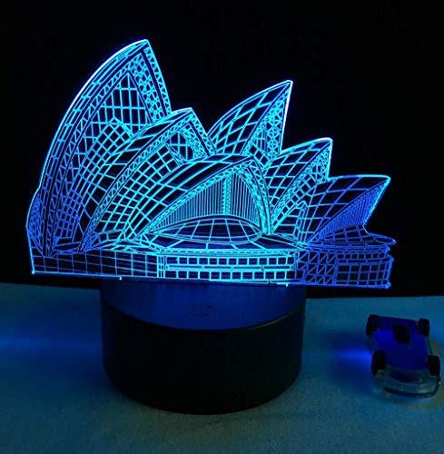 3D Sydney Opera House Stil Nachtlicht Folie 7 Farbwechsel Dekoration Lichter Kinderspielzeug Weihnachtsgeschenk