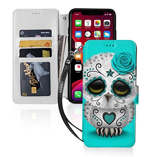 Sugar Skull Owl for iPhone 11 Wallet Case with Card Holder, Kickstand Function, TPU Durable Shockproof, PU Leather Magnetic Closure Protective Flip Cover Case for 2019 iPhone 11(6.1 inches)