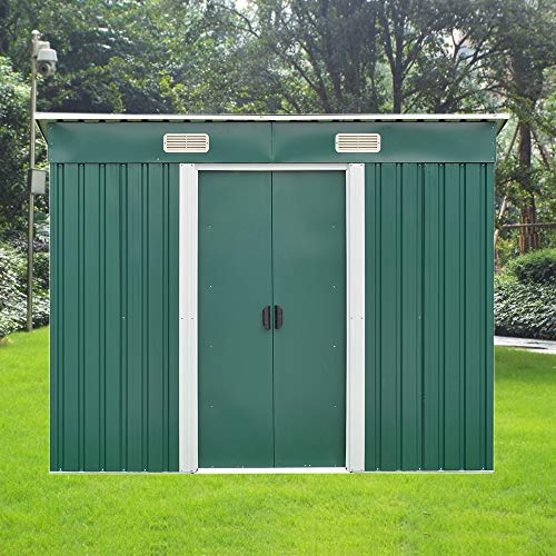 8 X 4 ft Metal Garden Shed Steel Sheds Outdoor Garden Tools Storage Shed with Free Base(Green)