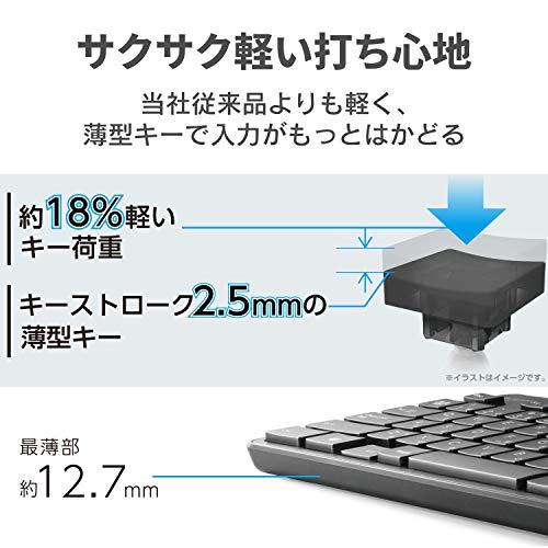 エレコムキーボードワイヤレス(レシーバー付属)メンブレン薄型フルキーボードマウス付ブラックTK-FDM110MBK