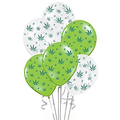PMU Marijuana Balloons Party-TEX 11in Premium Lime Green and Crystal Clear with All-Over Print Green Marijuana Leaves Pkg/25