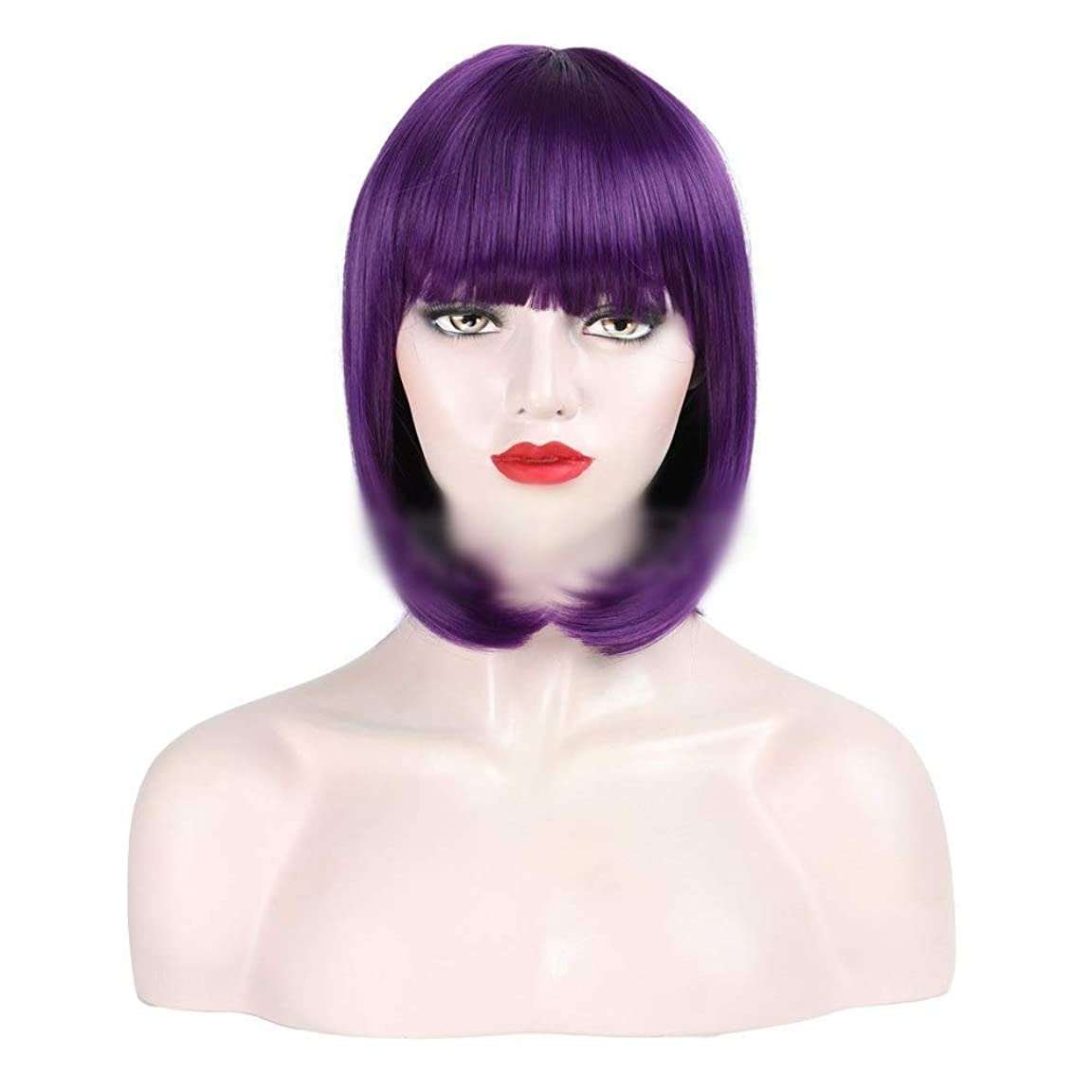 戦争幅有効化YESONEEP コスプレウィッグパープルヘアボブウィッグショートヘア前髪付きナチュラルストレート女性レディースパーティーウィッグ (Color : Purple)