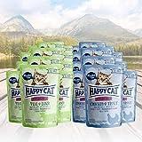 Happy Cat Variation Nassfutter für sterilisierte Katzen 24 x 85g - All Meat ohne Sauce nur Fleisch - je 12 Sück Kalb & Lamm, Huhn & Forelle