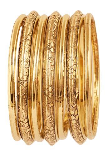Touchstone Indische Bollywood-Armreifen aus feinstem handgefertigtem Designer-Modeschmuck für Damen 2.5 Set von 7 Gold