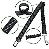 2 Pack Premium Car Seat Belt for Dogs Cats Pets, Adjustable Safety Heavy Duty Elastic Lead Harness for Cars with Elastic Nylon Bungee Buffer (Black)