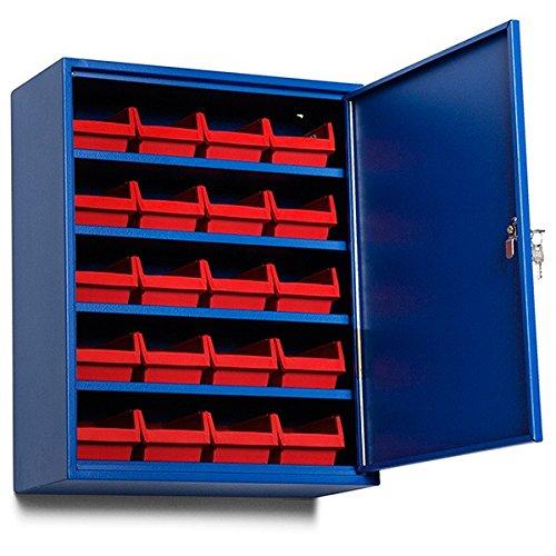 GBP Ergonomics 35-656-1030 kasten, forvaringskast inclusief 20 grijze laden, gewicht 14 kg, 470 x 205 x 580 mm, blauw