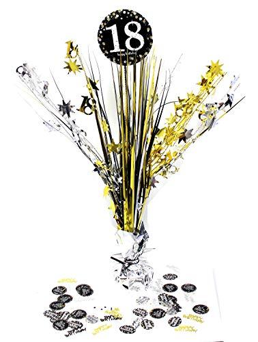 Feste Feiern Tischdeko zum 18. Geburtstag I 46cm Tischaufsteller Kaskade Tischaufsatz metallic Zahl 18 mit Konfetti Dekoration Gold Schwarz Silber Party Deko Set happy birthday 18
