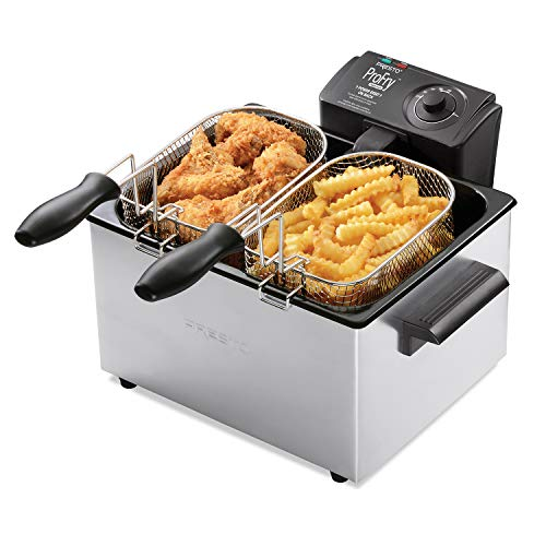 Presto Dual Basket ProFry 5L Deep Fryer, 5.3 Quart Capacity, Black