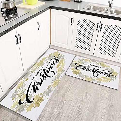 Alfombras Cocina Goma Alfombra de Baño Ducha 2PCS Star Flake Feliz Navidad Año Guirnalda Blanco Letras Festivas Dibujado Plata Celebración alfombras de Cocina Antideslizantes Lavables