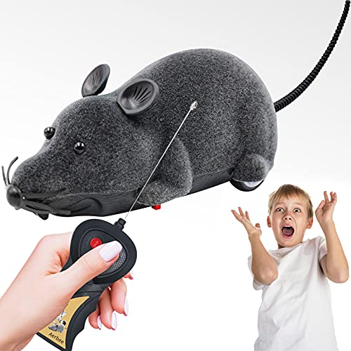 Aerbee Remote Control Mouse Toy, High Simulation Rat Animal Prank Joke Scary Trick Toys for Cat Dog Birthday Gifts, Black Fake Mouse Scary
