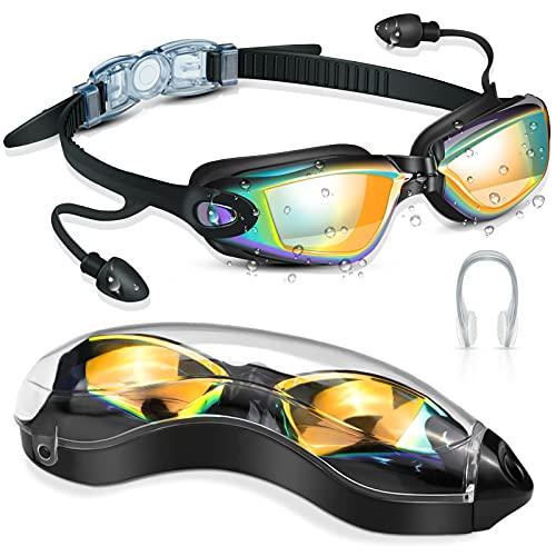 DAWINSIE Unisex Schwimmbrille, Schwimmbrillen für Erwachsene Jugendliche, 180 ° Weitwinkel Sicht, Anti-Beschlag, UV-Schutz Komfort Schnorchelbrille mit Nasenklammern, Conjoined Ohrstöpsel, Brillenbox