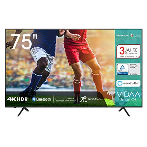 Hisense 75AE7000F 190 cm (75 Zoll) Fernseher (4K Ultra HD, HDR, Triple Tuner DVB-C/S/S2/T/T2, Smart-TV, Frameless, Bluetooth, Alexa, verstellbare Standfüße, 3 Jahre Garantie)