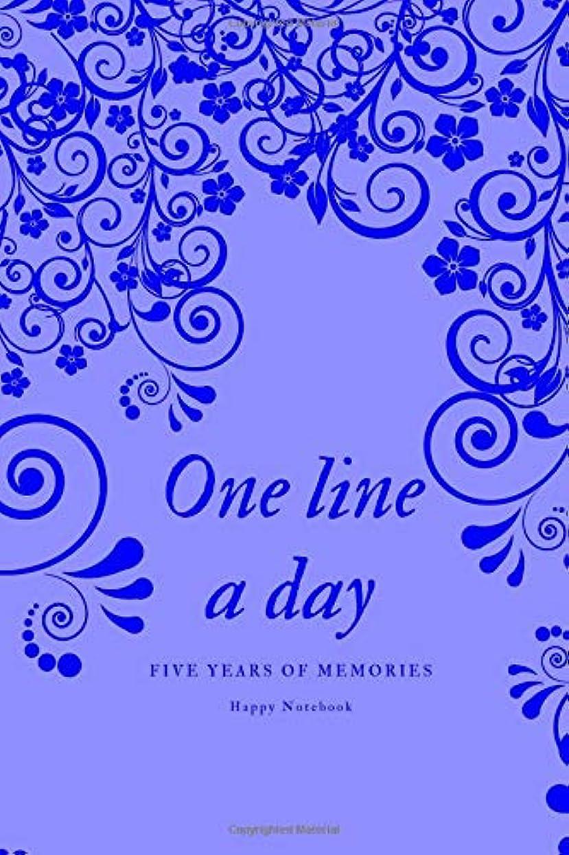 もちろんピッチ保証One Line A Day: Five Years of Memories, Journal, Diary (365 Pages, Dated and Lined Book, 6 x 9) blue flowers