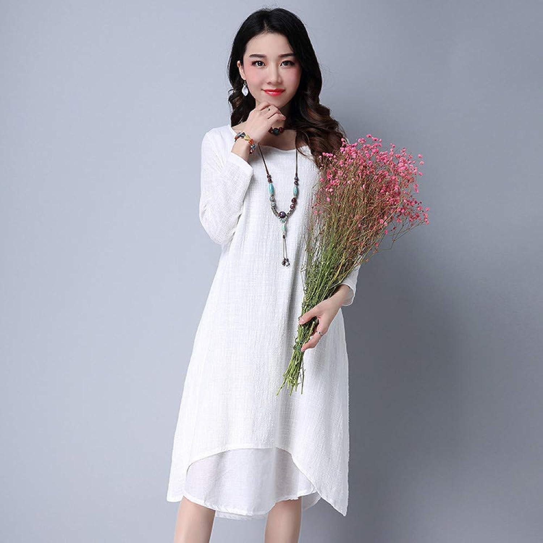Cxlyq Dresses Cotton Long Sleeves Dress Fake Two Large Size Loose Dress