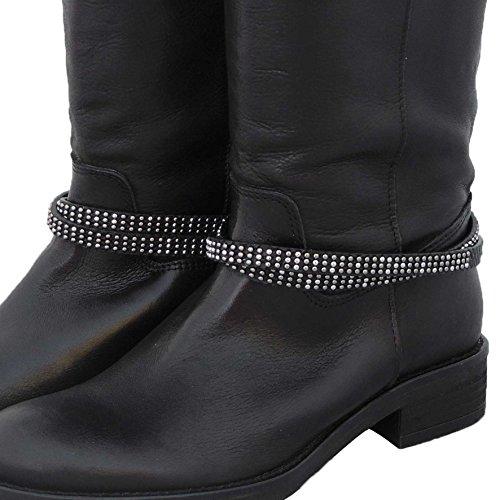 GlamIt Fashion 1 Paar (2 Stück) Stiefelbänder zum Wickeln in Reptiloptik mit 3 Reihen Mini-Nieten