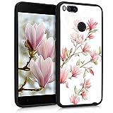 kwmobile Funda Compatible con Xiaomi Mi 5X / Mi A1 - Carcasa con diseño 3D - Protector Trasero con impresión Tridimensional - Magnolias Rosa Claro/Blanco