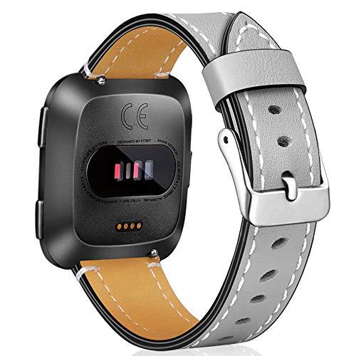 Amzpas Ersatz-Armband aus Leder für Smartwatch Fitbit Versa 2 / Fitbit Versa Lite., grau, Einheitsgröße