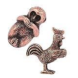 joyMerit 2 Pezzi Mini Formato Gallo Rame E Scimmia Bruciatore di Incenso Bastone Cinese Dodici Zodiaco Animale Ornamenti Fortunati Ufficio Feng Shui Arredament