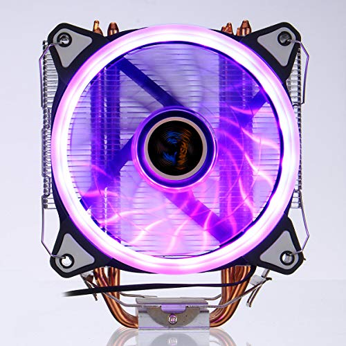 hgbygvuy CPU Cooler 4 Heatpipes 5 Colores 120 mm LED RGB Fan de enfriamiento para LGA 775 / 115x // 1366 AMD S
