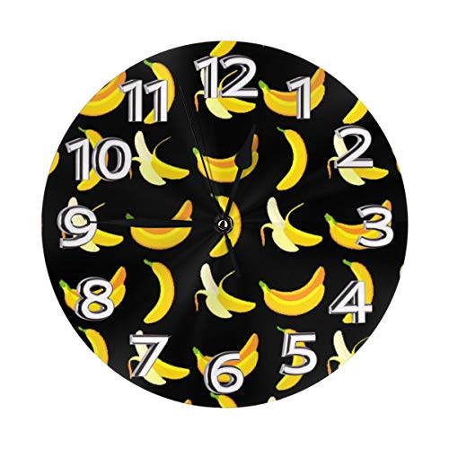 N/A Saba Banana Moderne batteriebetriebene geräuscharme Wanduhr ohne Ticken
