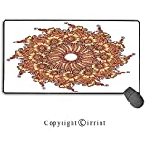 Alfombrilla de ratón con Cerradura, Henna, diseño de Tatuaje Floral Inspirado en la civilización Oriental Ilustración de Motivo Mehndi40X75CM