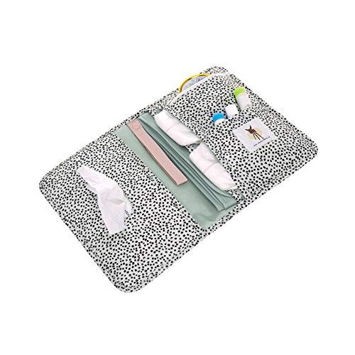 LÄSSIG Baby Windeltasche mit Wickelunterlage für unterwegs/Changing Pouch , weiß gepunktet, schwarz/weiß (Dotted Offwhite)