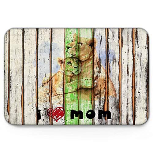 Amanda Walter Felpudo Alfombrilla de Suelo, Diseño de león de Acuarela sobre Vetas de Madera Día de la Madre - Alfombras Decorativas con Respaldo Antideslizante Alfombra de Entrada Alfombra 40x60cm