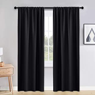 PONY DANCE Blackout Curtains & Draperies - 42 x 90 inches Black Out Window Curtain Double Panels Home Decoration Thermal Insulated Curtain Light Block Drapes Privacy Protect, Set of 2