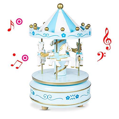 kabinga Carrusel02 Carrusel Caja de Música de Caballo de Madera Decoración Interesante para Cumpleaños,Flor azul1, Wood, Blue, m