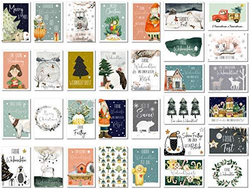 Weihnachstpostkarten 32 Stück Weihnachten Karten Postkarten Weihnachtskarten
