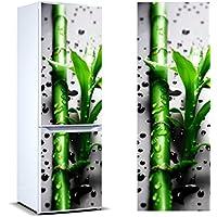 Pegatinas Vinilo para Frigorífico Rama bambú Gotas Agua   Varias Medidas 185 x 60 cm   Adhesivo Resistente y de Fácil Aplicación   Pegatina Adhesiva Decorativa de Diseño Elegante