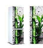 Pegatinas Vinilo para Frigorífico Rama bambú Gotas Agua | Varias Medidas 185 x 60 cm | Adhesivo Resistente y de Fácil Aplicación | Pegatina Adhesiva Decorativa de Diseño Elegante