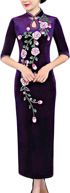 CoolredWomen gold Velvet Beads Cut Out Printed Cheongsam Long Dress