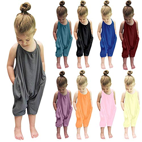Huihong Jumpsuit Overall Trainingsanzug Kinderoverall Kinderbekleidung Ärmellos Spielanzug Kleinkind Mädchen Baby Kinder Floral Strap Romper Sommer Outfits T-Shirt Bodysuit Kleidung (Blau, 110)
