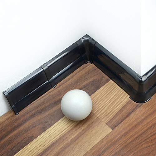 [DQ-PP] 30 Meter Sockelleisten 62mm PVC Schwarz glänzend Laminatleisten Fussleisten aus Kunststoff PVC Laminat Dekore Fußleisten