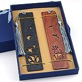 2pcs signets en bois, signet en bois naturel fait à la main avec un gland personnalisé pour les femmes hommes dictionnaire pour enfants avec boîte-cadeau - Lotus gravé